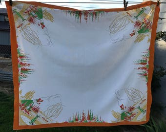 Vintage Orange and White Lady in the Flower Garden Tablecloth