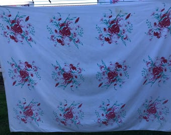 Vintage White with Red and Green Floral Print Tablecloth