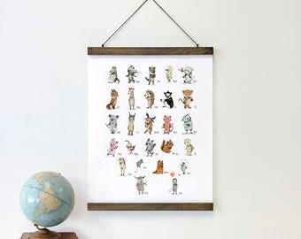 Magnetic Poster Hanger- Alphabet poster - Nursery animal print - Magnetic wood frame - Wood Poster Hanger -  Magnetic wooden frame
