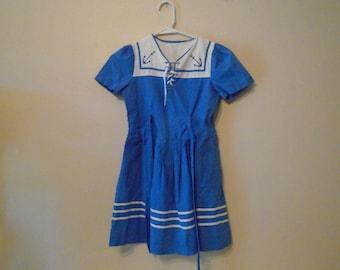 Girls cobalt blue vintage cotton sailor dress circa 1960s with white anchor collar size 5-6