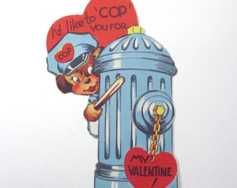 Vintage Children's Novelty Valentine Card with Cute Policeman or Cop Dog in Uniform with Fire Hydrant