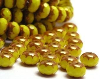 50% Off Sale 25 Czech Glass Gemstone Donut 7x5mm Opaque Yellow Copper Finish CZF043