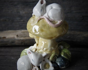 Little precious porcelain ceramic sleepy babies Mouse and mushroom