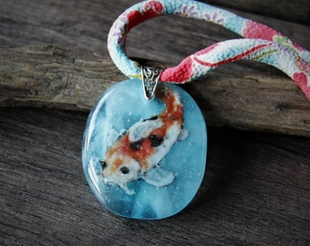 Beautiful Koi fish - fused glass pendant