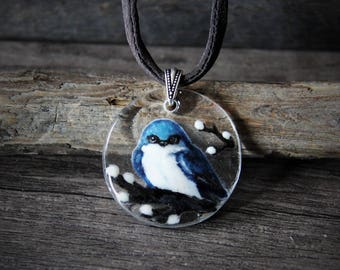 Beautiful swallow bird necklace - fused glass pendant - blue bird on a tree willow branch