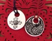 Zia Raven Talisman Pendant Handpainted Ceramic Ready to Ship
