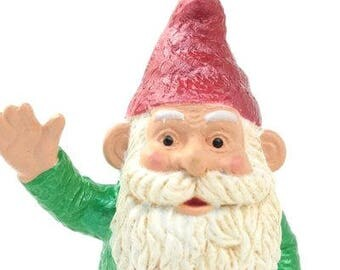 "Gnome - 2.5"" Green Waving miniature fairy garden miniature gnome figurine diorama gnome figurine - 268-2429-GN"