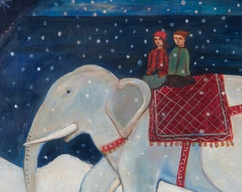 Greeting Card, holiday card, xmas, elephant, children, fantasy, winter, snow