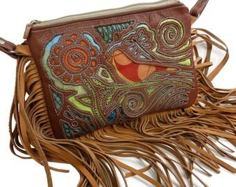 Applique Bird and Flower Leather Fringe Bag