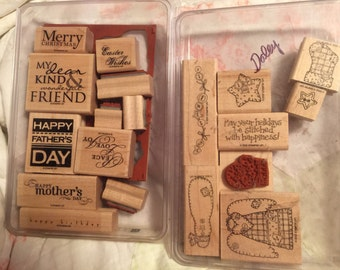 Stampin up! Large stamp sets: all holidays, handstitched holidays ( tree is missing), always