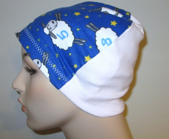Chemo Flannel Sleep Cap Numbered Sheep Cancer Hat, Alopecia,Small Hearts