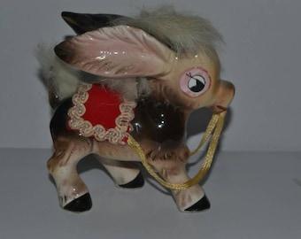 Vintage Mid Century Kitsch Ceramic and Fur Donkey Burro Figurine Japan