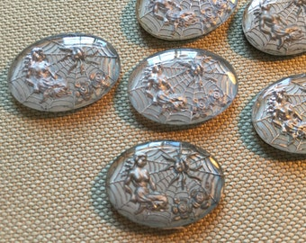 Vintage Glass Cabs (1)(25x18mm) Mermaid Roses Spider Reverse Painted Glass Cabochons