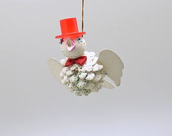 Vintage Christmas Ornament Pine Cone Bird Christmas Decoration