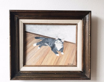 Vintage Kitten Painting -naive, studio art