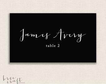 "Custom Place Cards - Black & White Calligraphy - Personalized Wedding - Name Place Cards  - 3.5""x2"" - DIY Printable"