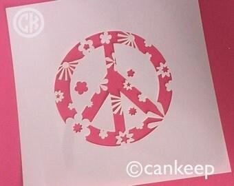"Cookie Stencil - Peace Sign-Flower Power  6""x6"" Laser Cut Stencils"