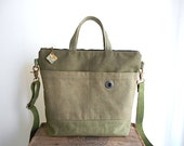 Military canvas,, bank sack crossbody tote bag - hand dyed, San Francisco - eco vintage fabrics