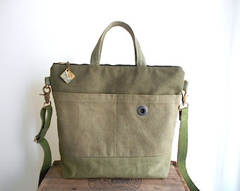 Military canvas, vtg bank grain sack crossbody tote bag - hand dyed, San Francisco - eco vintage fabrics