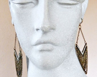Bronze Chain and Crystal Chandelier Earrings
