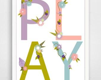 PLAY - Floral Nursery Decor - Pink Nursery Wall Art Print - Baby Wall Art - Purple Nursery Wall Art