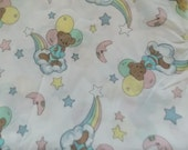 3 yards 1987 Precious Moments Teddy Bears Cotton Quilting Fabric Sew Supply Crafts Vintage