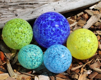 Set of 5 Colorful Hand Blown Glass Floats, Garden Balls, Glass Gazing Orbs Outdoor Art Decoration in shades of Blue, Green and Yellow