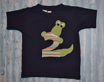 Boys ALLIGATOR  BIrTHHdAY NUMBER    applique tee sizes 6-12-18-24 mth 2T -3-4-5-6 *any number available*