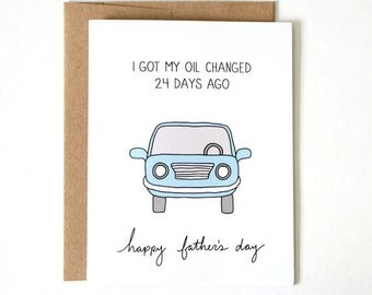 Funny Fathers Day Card - Oil Change