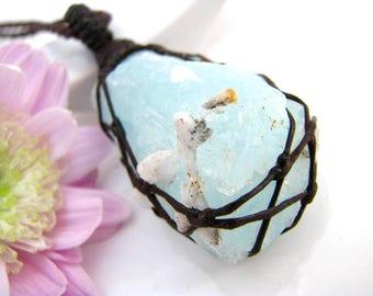 Aquamarine pendant, Throat Chakra, Speak your Truth, Aquamarine necklace, Aquamarine crystal , Healing crystals, Earth Aura Creations