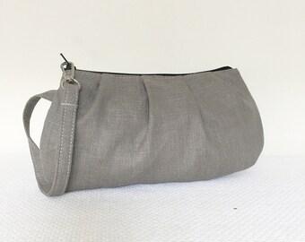 Pleated Wristlet Zipper Pouch // Clutch - European Linen Stone