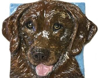 Brown Labrador Retriever Ceramic Portrait Sculpture 3D Dog Art Tile by Sondra Alexander ready to ship