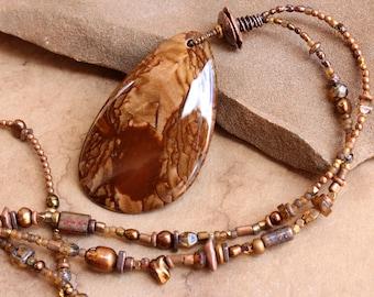 Beautiful Deschutes Jasper Pendant + Reversible Pendant + Picture Jasper + OOAK + Handmade Copper Beads + Mixed Bead Strand