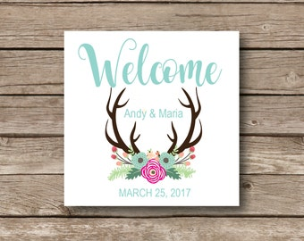 Wedding welcome bag Personalized Stickers, antlers, rustic chic, destination wedding, personalized glossy labels, welcome stickers, set of 9