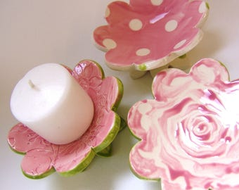 Mother's Day pretty pink pottery Dish Set :) 3 ceramic flowers, whimsical hostess gift, candleholders, polka-dots, ring dish, soap dish
