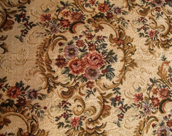 Vintage Floral Tapestry Fabric Upholstery  Antique Floral Flowers Shabby Romantic Cottage Chic French Country Farmhouse