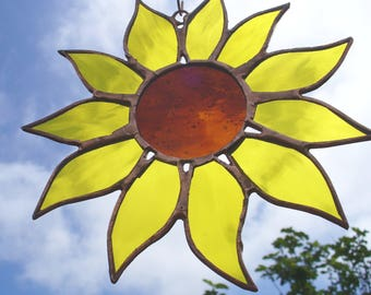 Sunflower Suncatche, Stained Glass Sunflower, Sunflower Window, Handmade