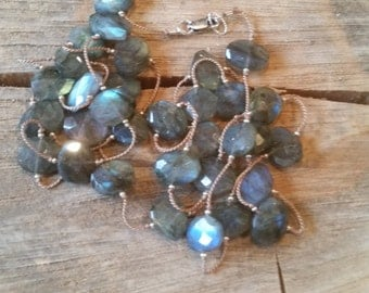 Handknotted Labradorite Stone Necklace Silk