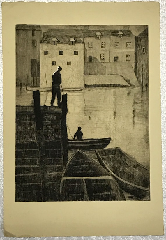 A. Graeme Mitchell (1889-1941) Etching of Men in a Harbor