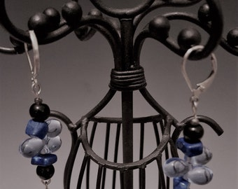 Blue Tear Drop Dangle  Earrings