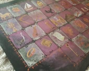 Lenormand Casting Board Handpainted by Beth Seilonen 12 by 16 inches