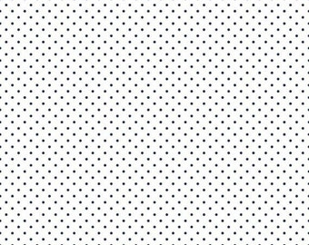 ON SALE 15% OFF Riley Blake Basic Navy Swiss Dots on White