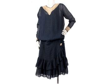 Vintage 20s Dress - 20s Silk Chiffon Dress - Blue Silk Chiffon Dress - Chiffon Lace Dress - XL 20s Dress - 20s Art Deco - 20s Flapper Dress