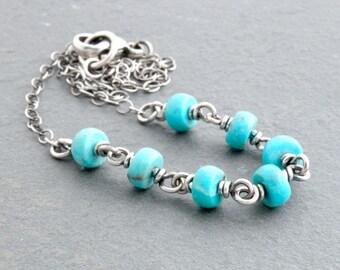 Blue Turquoise Gemstone Necklace, Genuine Turquoise Gemstone, Sterling Silver, Turquoise Necklace, December Birthstone, Wire #4739