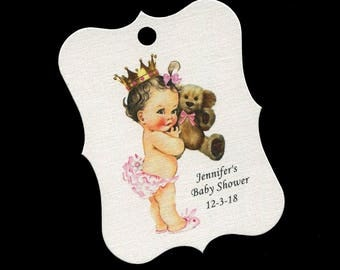 Baby Shower Favor Tags - Baby Girl - Personalized Tags - Princess - Bear - Cookie Tags - Candy Tags - Thank You Tags