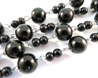 3ft Black Glass Pearl Chain Handmade 11mm and 6mm Nickel Plated Links Wedding Chain - 39 inch - STR9090CH-BK39