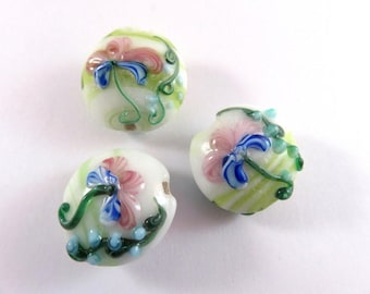 BOGO - 3 Lentil Lampwork Beads, Green & White Glass Coin, Pink and Blue Iris Flowers 20x12mm - 3 pc - G6084-WTG3 - Buy 1, Get 1 FREE