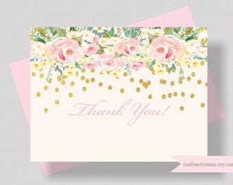 BLUSH PINK and Gold Glitter Thank You Card Watercolor Floral   Bridal Shower Thank You Card   Boxed Set of 10 Shabby Chic Thank You Card