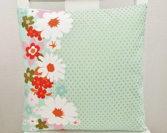 Mint Green and Metallic Gold Spot Cushion with Bold Flower Border, Small Pastel Pillow for a Bedroom, Pretty and Modern Decor
