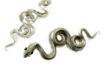 Serpent Stud Earrings, Brass or Silver